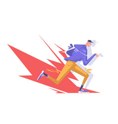 running guy a young guy in fashionable clothes vector image
