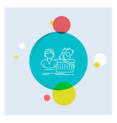 salary shopping basket shopping female white line vector image