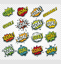 Scored goal sticker hit the ball comics speech vector