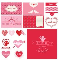 Scrapbook Design Set - Valentines Day Hearts vector