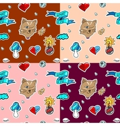 Seamless pattern with fashion patch badges vector