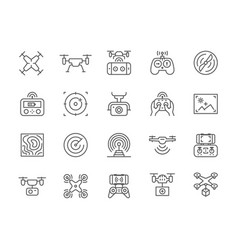 Set drone line icons remote controller vector