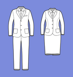Set of a blazer pants and skirt vector