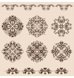Set of damask ornaments vector