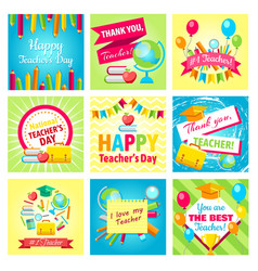 set of gift cards for teachers day vector image