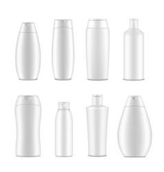 shampoo bottles and packaging set mockup for vector image
