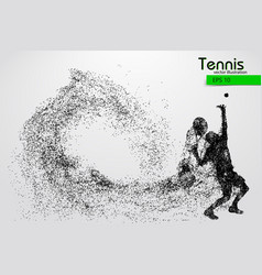 Silhouette of a tennis player from particles vector