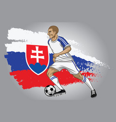 Slovakia soccer player with flag as a background vector