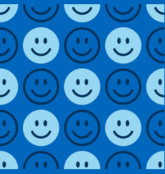 Smile icon pattern happy faces on a blue vector
