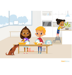 smiling children doing daily routine in kitchen vector image