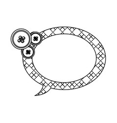 Sticker figures oval chat bubbles icon vector