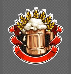 sticker of wooden beer mug vector image
