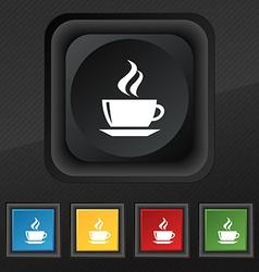 tea coffee icon symbol Set of five colorful vector image