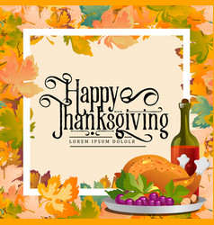 thanksgiving day calligraphy cardautumn vector image