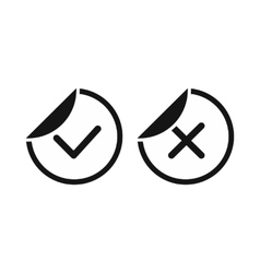 Tick and cross sticker icon simple style vector image