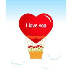 valentines day air balloon heart vector image