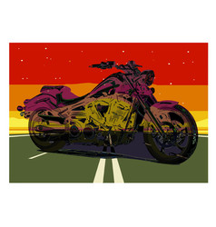 vintage motorcycle poster motorcycle on the road vector image
