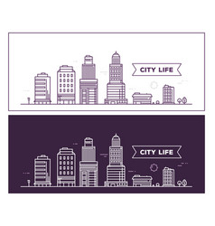 white and black city landscape on different vector image