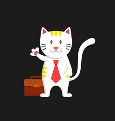 White business man cat say hallo waving hand vector