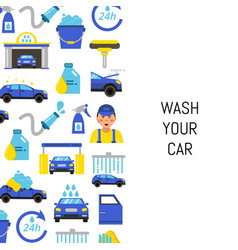With car wash flat icons vector