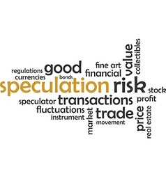 word cloud speculation vector image