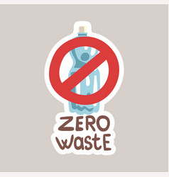zero waste tagline sticker cartoon vector image