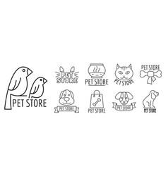 zoo pet shop logo set outline style vector image