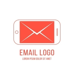 email logotype with inverted red smartphone and vector image vector image