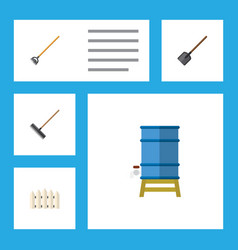 Flat icon farm set of shovel tool wooden barrier vector