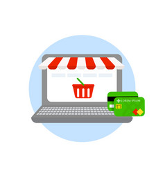 laptop online shopping online store credit and vector image vector image