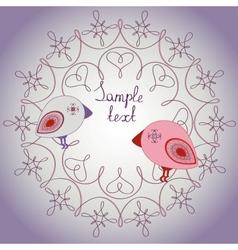Retro card with cute birds vector image vector image