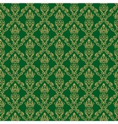 Seamless Damask Wallpaper 1 Green Color vector image