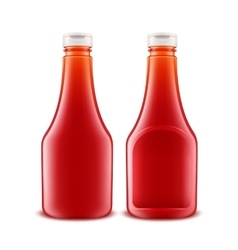 Set of Glass Plastic Red Tomato Ketchup Bottle vector image