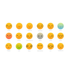 set of japan style color emoji isolated on white vector image vector image