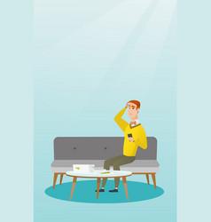 unhappy caucasian man accounting home bills vector image