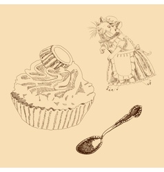 Vintage Set of Mouse Spoon and Cake vector image vector image