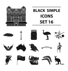 australia set icons in black style big collection vector image