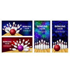 bowling kegling banner concept set realistic vector image