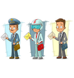 cartoon postman with letter character set vector image