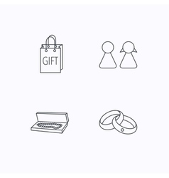 Couple gift and wedding rings icons vector image