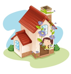 girl and house vector image vector image