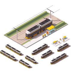 isometric tramways vector image vector image