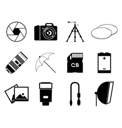 photo icons accessories set vector image