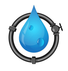 pipes and water drop vector image vector image