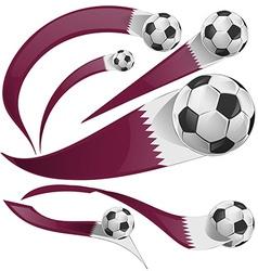 qatar flag set with soccer ball vector image vector image