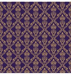 Seamless Damask Wallpaper 1 Purple Color vector image