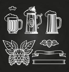 vintage elements for labels - glass of beer ribbon vector image