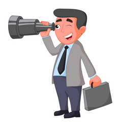 cartoon businessman looking for future opportunity vector image