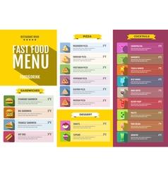Flat style design of fast food menu vector image vector image
