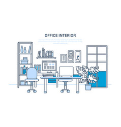 interior of the office room with a workplace vector image